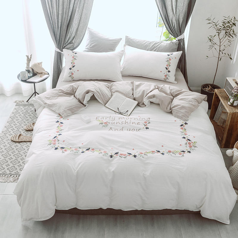 Embroidery White Grey Bedding Set Queen King size Pure Cotton Fitted sheet Bed sheet Duvet/bed cover linge de lit ropa de cama|Bedding Sets|   - title=