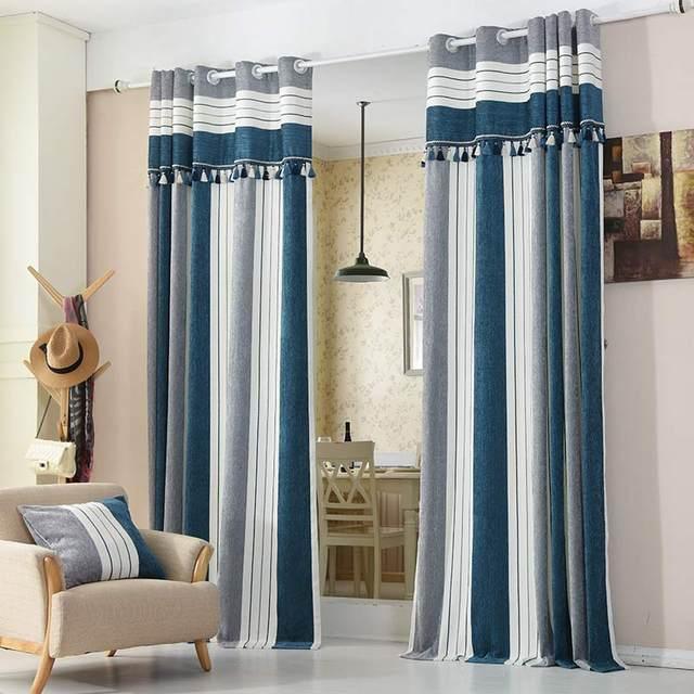 Online Shop Blu A Strisce Tende Moderne per la Camera Da Letto ...