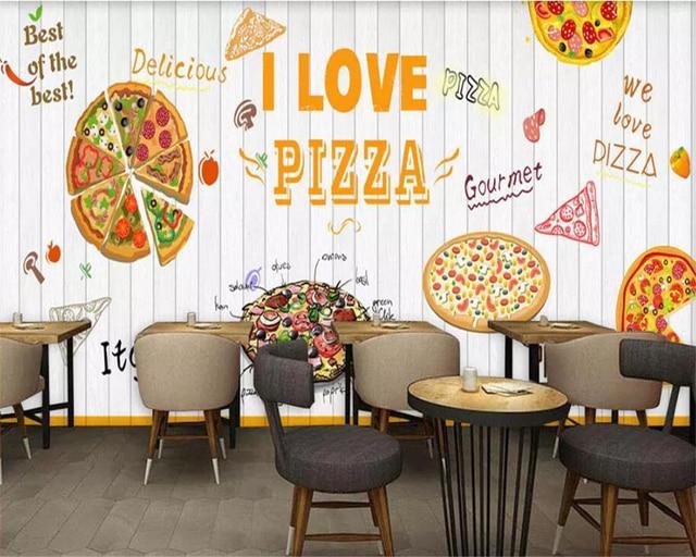 Beibehang custom d muurschildering witte houten board pizza d