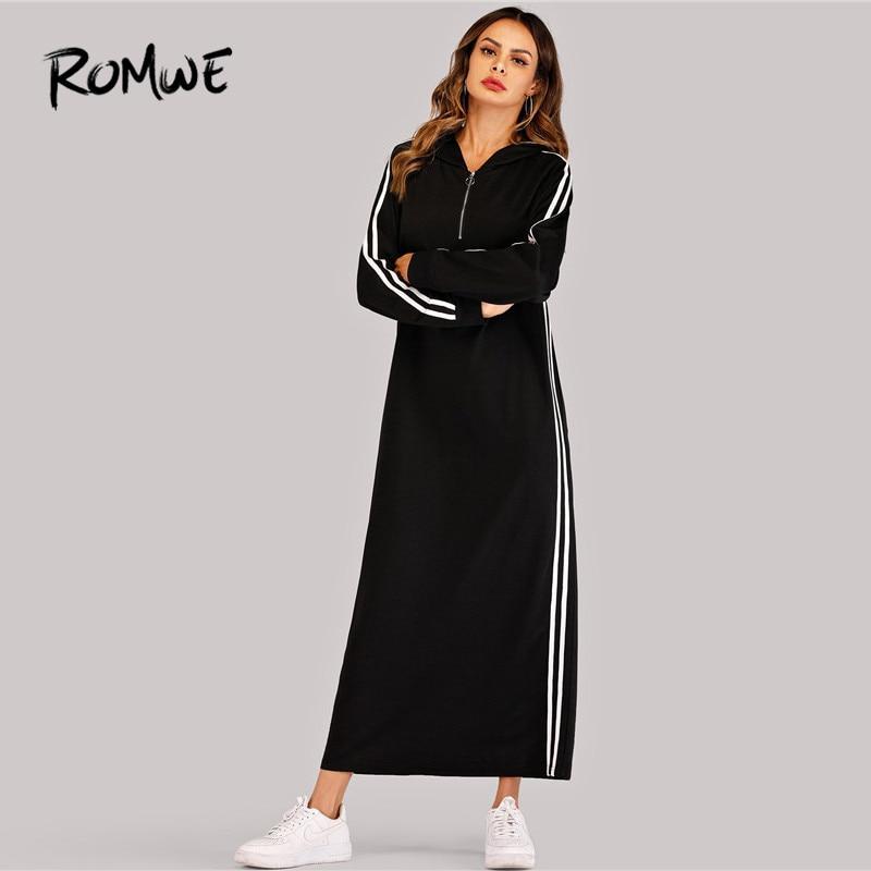 Image 3 - ROMWE Black Hooded Long Sleeve Straight Maxi Sweatshirt Dress  Women Spring Autumn Side Striped Tape Zipper Up H Hoodie  DressesDresses