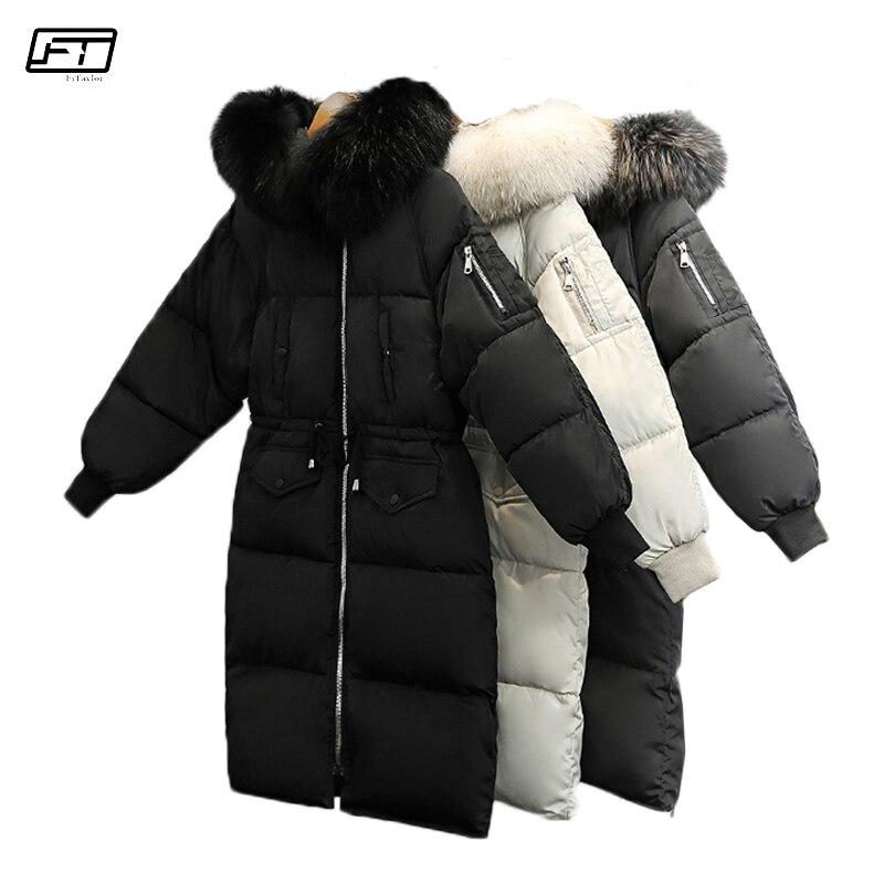 Fitaylor Winter Down Cotton Long Jacket Women Plus Size Black Padded