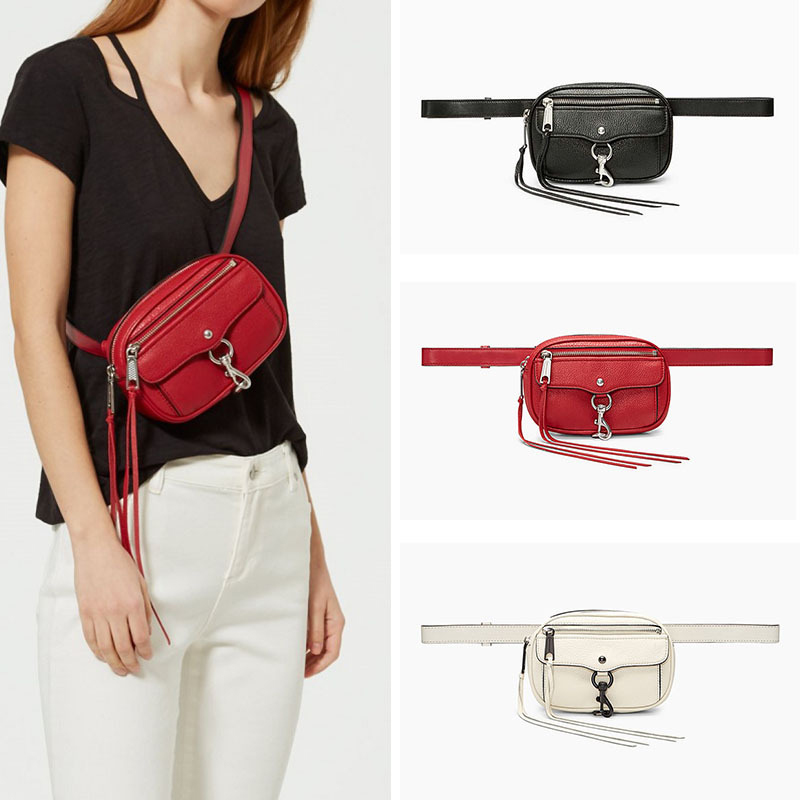 Womens Belt Bag Tassel Waist Bag Ladies Leather Banana Fanny Pack Handy Chain Belt Purse Girl Waterproof Crossbody Shoulder Bags
