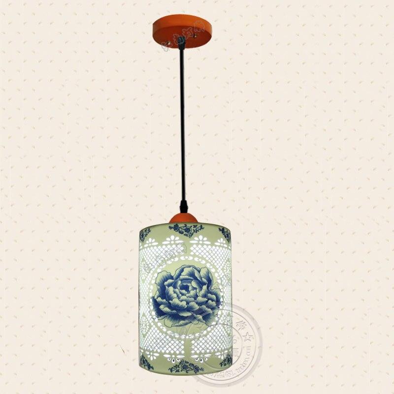 Simple tête balcon lustre classique en céramique porche lumière couloir lumière moderne style chinois thé maison décoration lustre