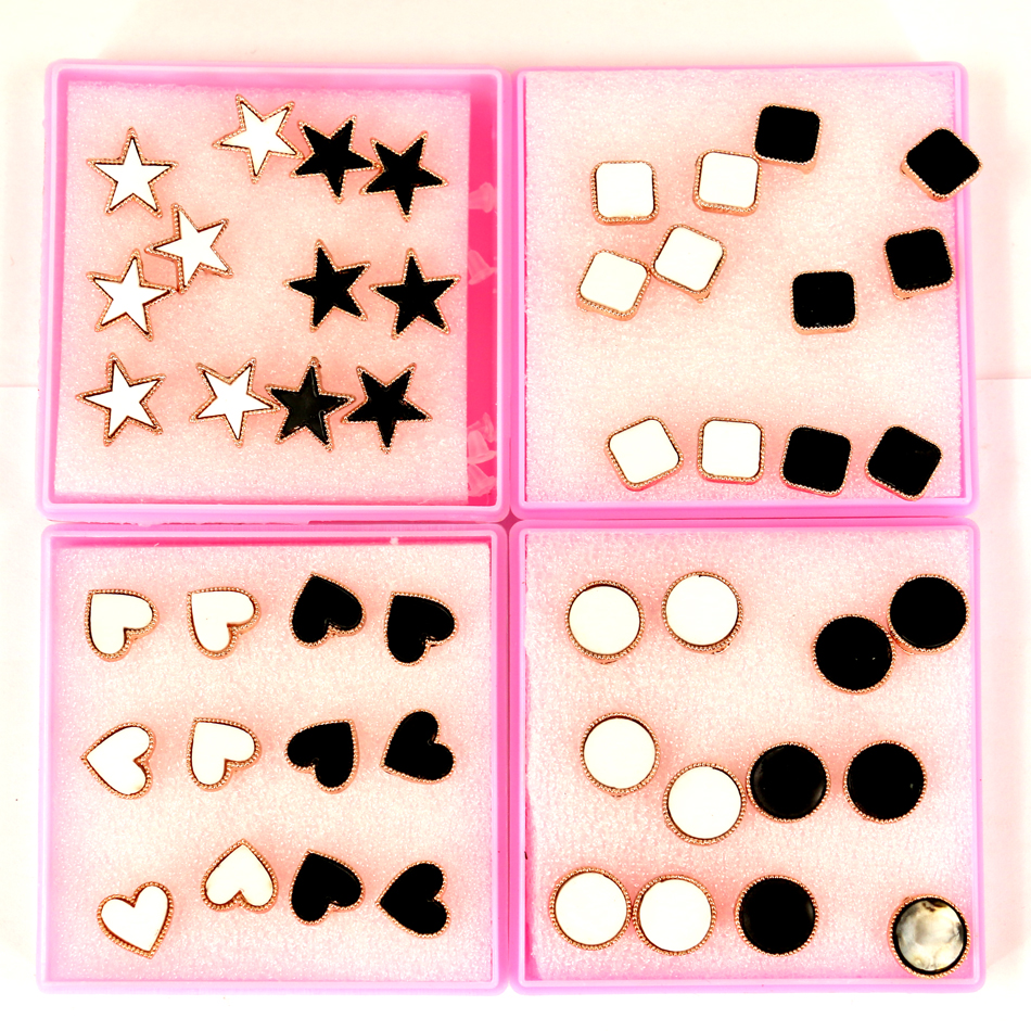 Free Shipping Wholesale Factory Directly Kc Gold Plating Alloy Stud Earring With Resin Board Covered 6pairs/box