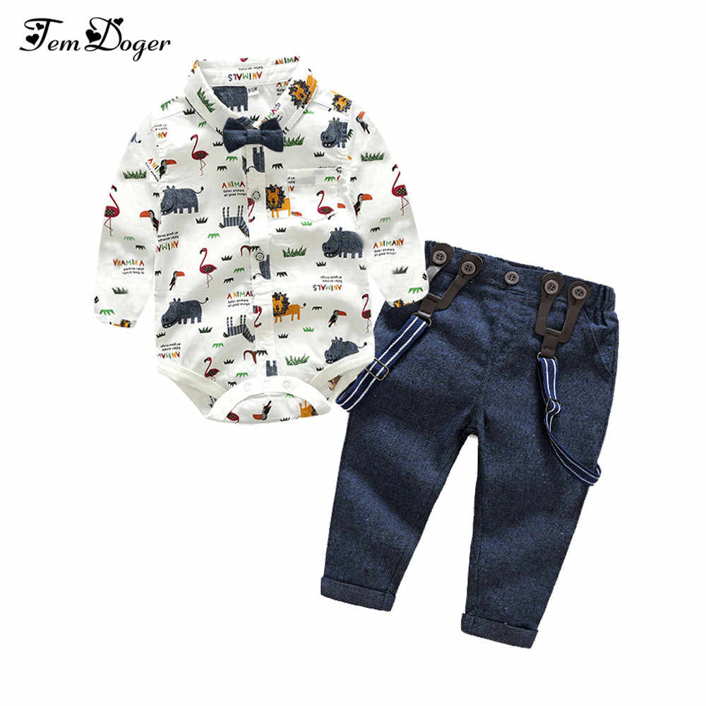 402228edad Tem Doger Baby Boy Clothing Set Newborn Baby Boys Gentleman Clothes Infant  Long Sleeve Shirt+