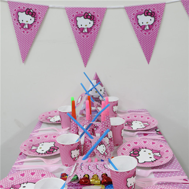 b3d2bb061 1Pack 128pcs Luxury Kids Birthday Party Decoration Set Hello Kitty Theme  Party Supplies Baby Birthday Party For 15 People Use