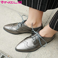 VINLLE 2017 Woman Pumps Square Low Heel Spring Autumn Shoes Women Lace Up British Style Pointed Toe Fashion Shoes Big Size 34-43