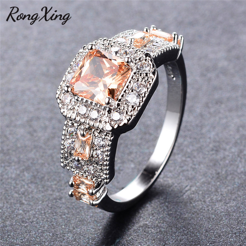 RongXing Princess Square Zircon Champagne Rings For Women White Gold Filled Vintage Nov Birthstone Ring Feamle Wedding Bands CZ
