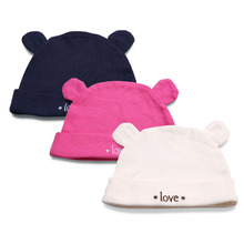 3PCS Newborn Baby Hat Cute Blue White Pink Soft Cotton for Boy Girl Lovely Letter Embroidery Warm  0-12M Infant Beanie