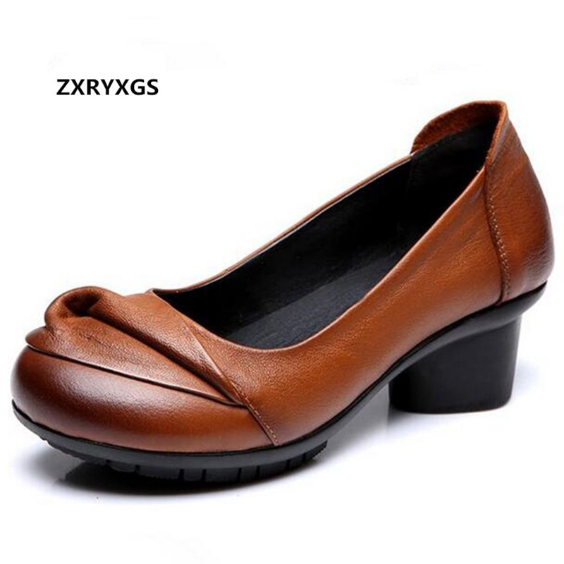 Hot 2019 Newest Autumn Handmade Pleated Real Leather Shoes High Heels Comfort Banquet Wedding Shoes Woman