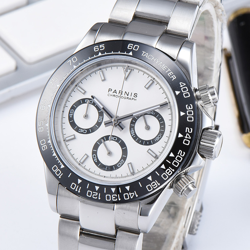 Parnis 39mm Quartz Watch Men Chronograph Top Brand Luxury Pilot Business Waterproof Sapphire Crystal WristWatch men