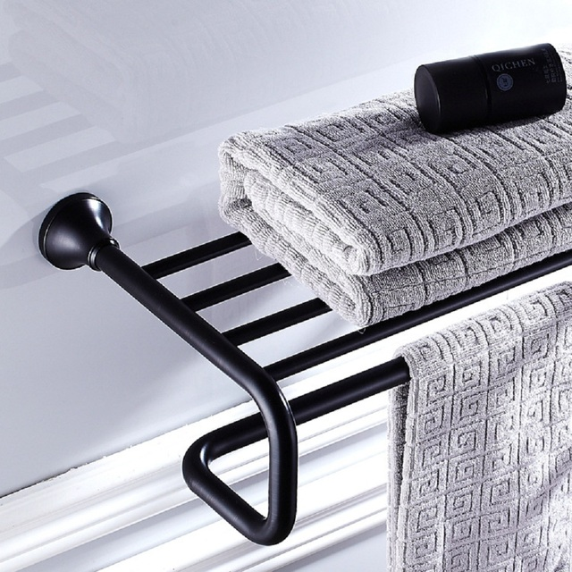 AUSWIND Antique Black Oil Rubbed Bronze Towel Rack With Towel Bar Bathroom  Shelves Round Base Wall