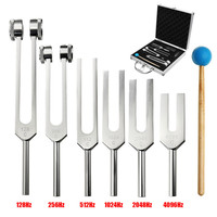 6Pcs Aluminum Medical 128 4096Hz Tuning Fork Tools Kit Healing Sound Vibration Therapy w/ Mallet