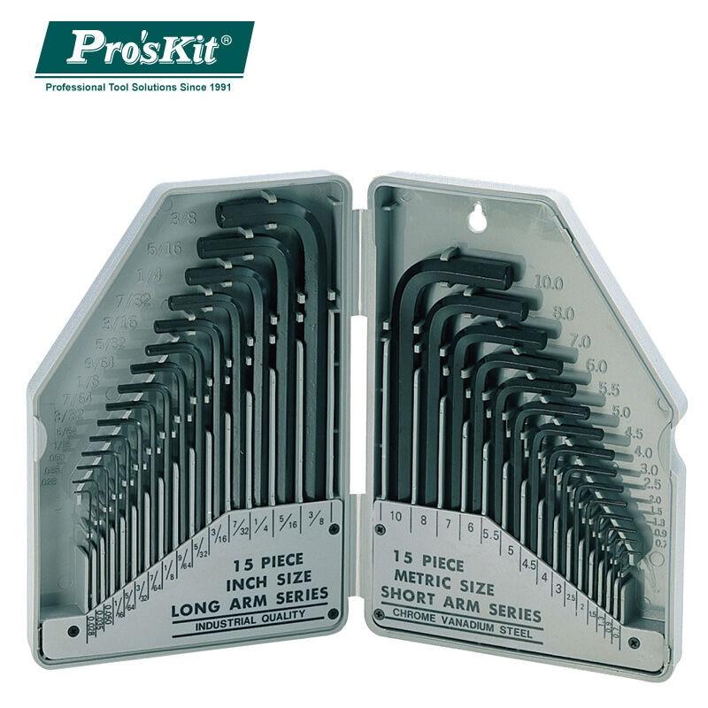 Brand ProsKit 8PK 027 30 Piece Metric Inch Combination Hex Key Set Wrench Screwdriver Set