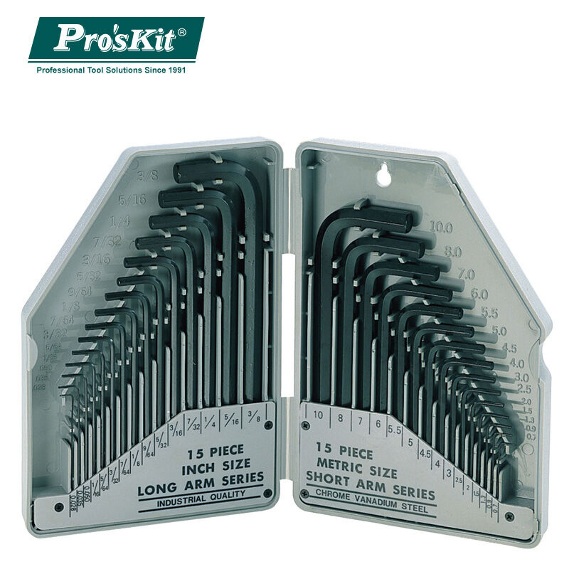 Brand ProsKit 8PK-027 30 Piece Metric & Inch Combination Hex Key Set,Wrench Screwdriver Set 9pcs durable reinforced toughen metric ball ended hex allen key wrench set bs