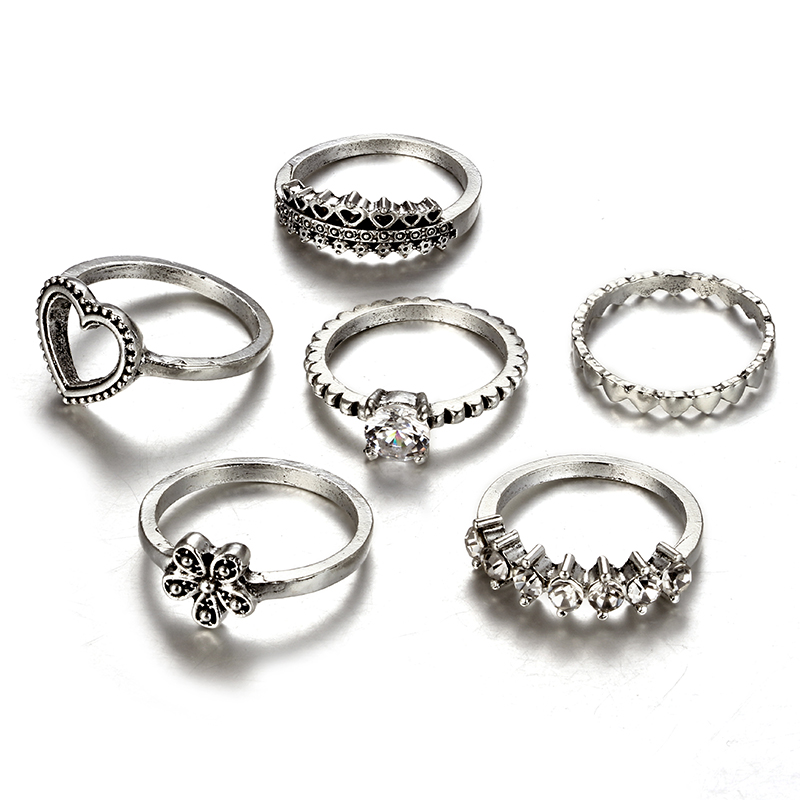 HuaTang Bohemian Antique Silver Ring Geometric Elephant Flower Green Rhinestone Knuckle Rings Midi Finger Anel Rings Jewelry 69