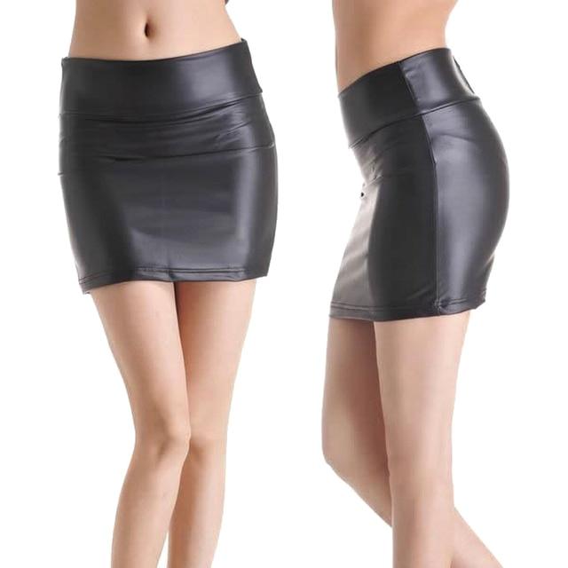 12e730b90fc9 2018 New Sexy Women PU Leather Mini Pencil Tube Skirt Bodycon Party Club  Short Casual Skirts FS99