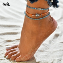 New bohemian orange hand-woven rope adjustable sea turtle anklet, 3D flower bracelet with blue beads and bare anklets