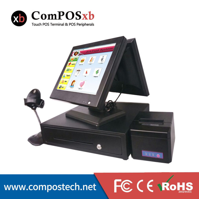 New Point Of Sale 15 Inch Dual Screen All In One Cash Registe pos System With Cash Drawer/MSR/Barcode Scanner/Thermal Printer