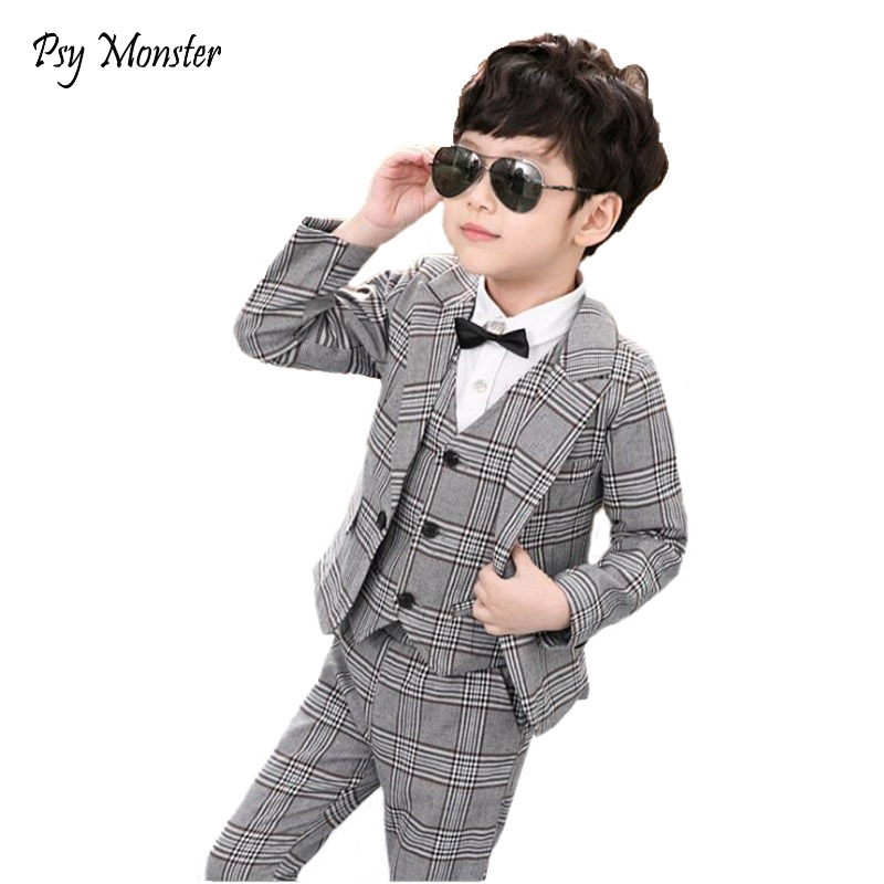 Children Performance Costume Flowers Boys Formal Suit Wedding Birthday Party Dress Gentleman Kids Blazer + Vest + Pants 3Pcs F90 boy blazer suit 2018 boys 3pcs plaid formal wedding suit vest coat pant brand children party tuxedos performance wear for boys