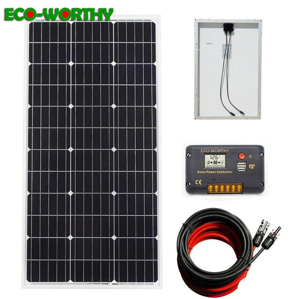 ECOworthy 100 Вт Солнечная Система питания: 100 Вт моно солнечная панель питания и 20A ЖК контроллер и 5 м черный красный Кабели Зарядка для 12 В батареи-in Солнечные энергосистемы from Бытовая электроника