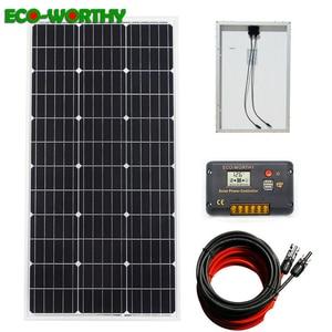 Image 1 - ECOworthy 100W: 100W סולארית מונו פנל & 20A LCD בקר & 5m שחור אדום כבלי תשלום עבור 12V סוללה