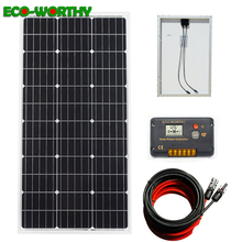 ECOworthy 100W solar power system: 100W mono solar power panel & 20A LCD controller & 5m black red cables charge FOR 12V battery