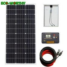 Système dénergie solaire ecoworth 100W: panneau dalimentation solaire mono 100W et contrôleur LCD 20A et câbles rouges noirs 5m charge pour batterie 12V