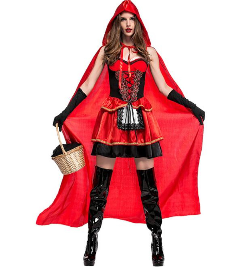 Women Halloween Costume Little Red Riding Hooded Robe Lady Embroidery Dress Party Cloak Outfit  Adult queen of nightclub A030