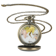Vintage Fashion Quartz Pocket Watch Roman Map Necklace Pendant Chain Clock Women Men Gifts Retro style Pocket Watches vintage women quartz pocket watch alloy openable blue flowers pattern lady sweater chain necklace pendant clock gifts ll