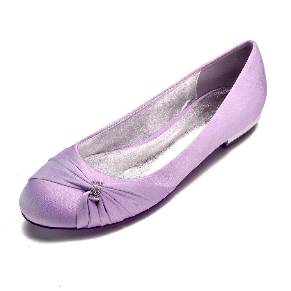 Creative vesugar bout arrondi satin robe appartements avec noeud cristal strass anneau élégant mariée mariage bal dame chaussures 15 couleurs