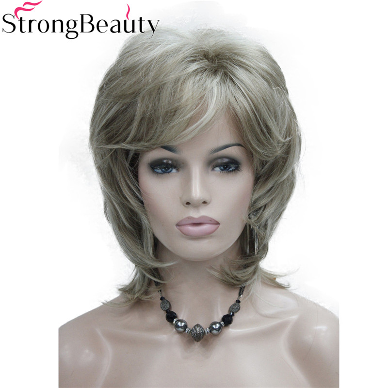 Strong Beauty Synthetic Wigs Medium Length Wavy Hair Women Capless Wig 15 Colors
