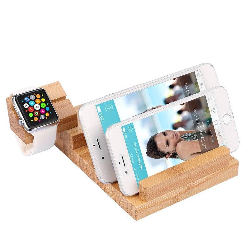 Support de chargement de téléphone portable USB 3 ports Base de chargement en bois support plat chargeur