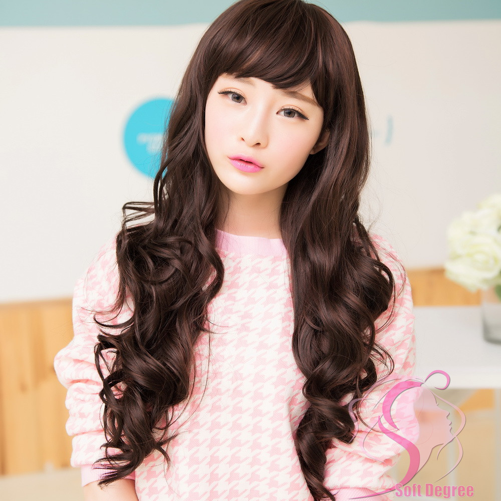 korean long hair style softdegree hair 2015 new korean style wave s 4101 | SoftDegree Hair 2015 new Korean Style long wave lady s wigs synthetic hair thin bangs wig