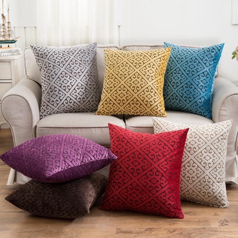 45x45cm Classic Ice Velvet Soft Cushion Cover Throw Pillowcase Car Seat Waist Home Office Sofa Decoration Clients First Home & Garden