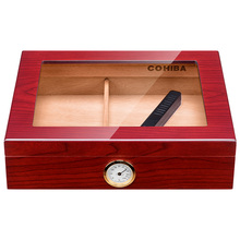 popular hot sales Cedar Travel Cigar Box red/ black High Transparent Skylight and Hygrometer Humidifier CA-0121