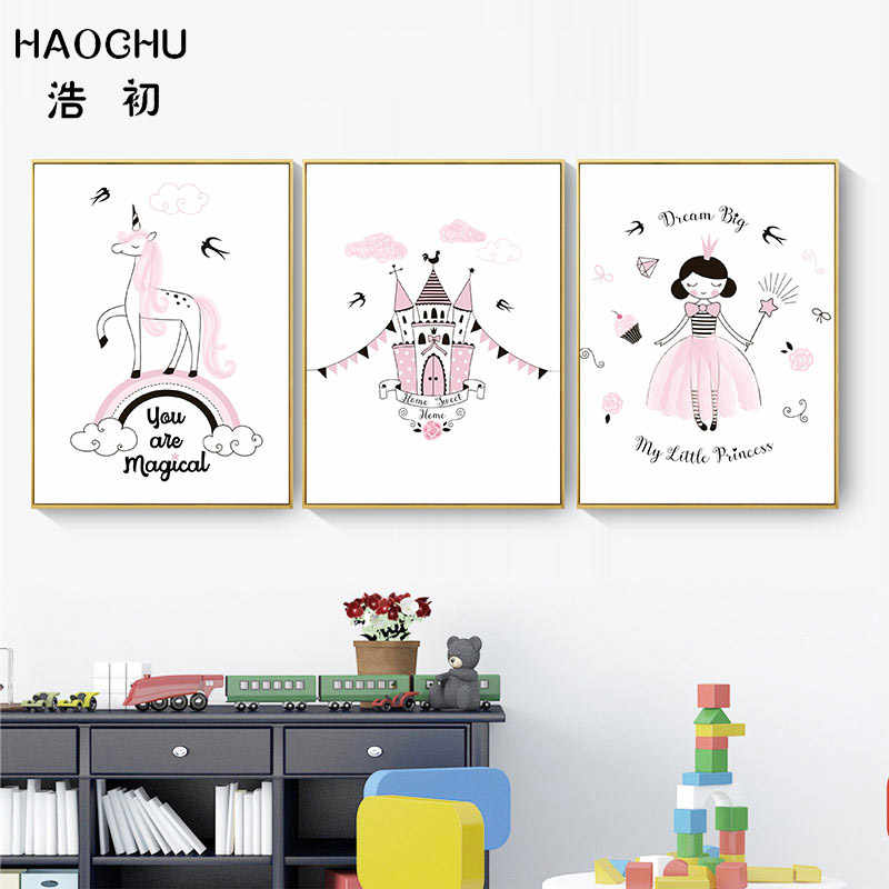 HAOCHU Nordic Poster Pink Unicorn Magic Castle Little Princess Magic Bar Art Print Poster Canvas Painting For Kids Room Unframed