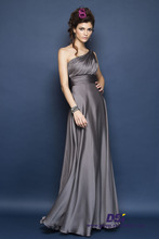 CBD58 new a-line silhouette one shoulder design pleat beading long chiffon grey bridesmaid dress