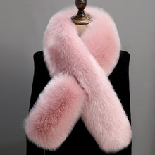 LEAYH Solid Color Soft Imitation Fox Fur Scarf Women Female Fashion Autumn and Winter Long Warm Thickening Muffler Shawls