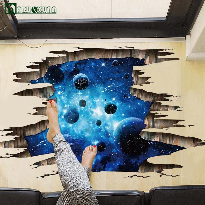 Maruoxuan 3D Blue Starry Galaxie Planet Raum Wandaufkleber ...