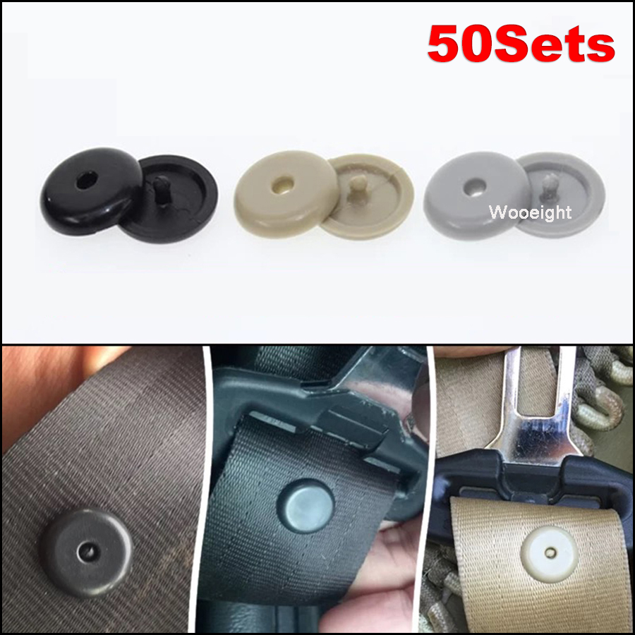 10× Beige Car Auto Seat Belt Buckle Clips Retainer Seatbelt Stop Buttons Plastic