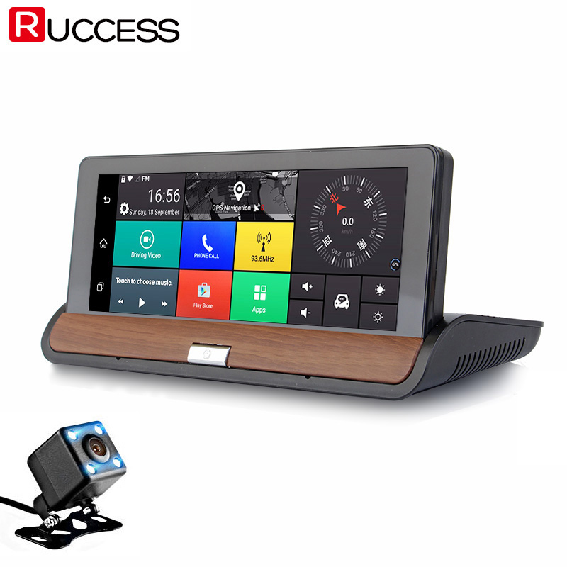imágenes para Ruccess 3G Retrovisor de Navegación GPS Del Coche DVR Cámara de Doble Lente Dvr FULL HD Android 5.0 GPS Navigaccion Grabadora de Automóviles Dashcam