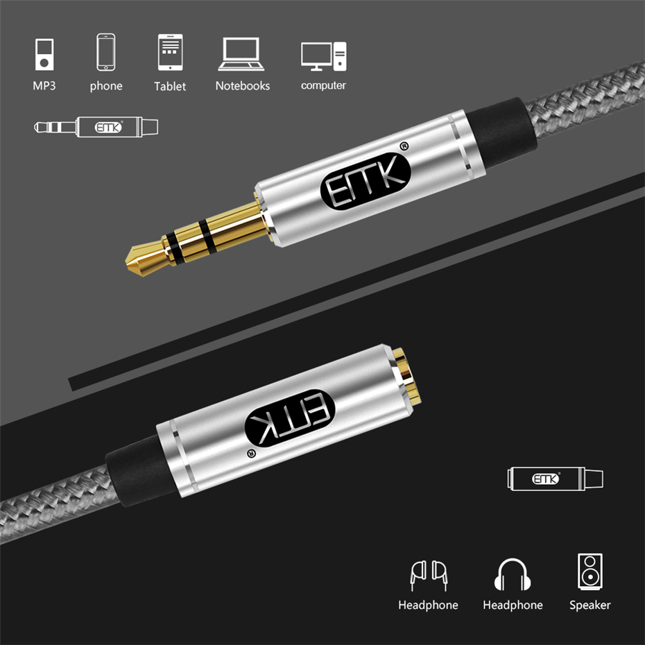 EMK Aux Cable Headphone Extension Cable 3.5mm Jack Male to Female For Computer Audio Cable 3.5mm Headphone Extender Cord (5)