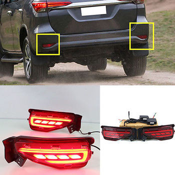 For Toyota FORTUNER 2015 2016 After Light Rear Foglight Assembly Tail fog lamp LED Lights guide Car Parts Accessories 2pcs