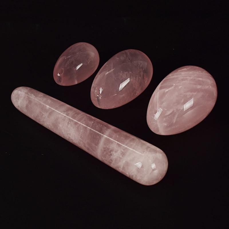 Drill Rose Quartz Yoni Egg set Pleasure Stick Vaginal Magic Ball Crystal Massage Wand Ben Wa Balls for Women Kegel Exerciser