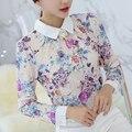 Novas Mulheres Casual Básico Outono Inverno Lace Chiffon Blusa blusas Camisa Top Floral Elegante Completo Manga Plus Size