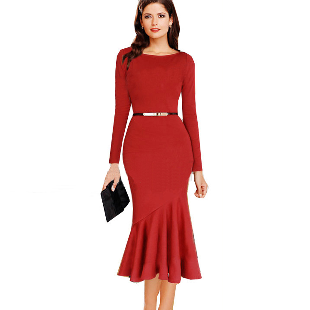 2015 Autumn New Sexy Women Black Red Long Sleeve Tunic ...
