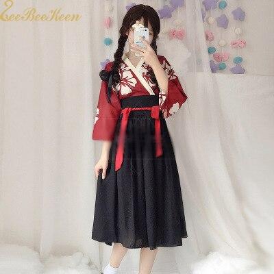 Halloween Cosplay Costume Women Japanaese Kimono Light Chiffon Hanfu Print Flower Skirt Adult Anime Cosplay Party Dress For Girl