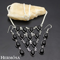Hermosa Jewelry New Indian style Drop shape charming Black Onyx 925 Sterling Silver Necklace Earrings Set  HF747