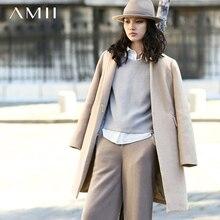 Amii Casual Women Woolen Coat 2017 Winter Wide-waisted Single Button Wool Blends